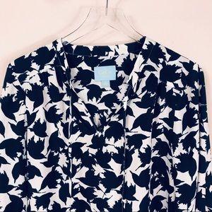 CeCe Dresses - CeCe Shift Dress Blue Sparrow Print Sz 10